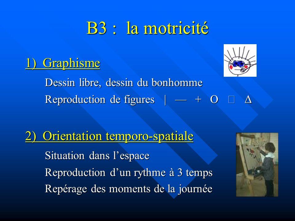 B3 : la motricité 1) Graphisme Dessin libre, dessin du bonhomme