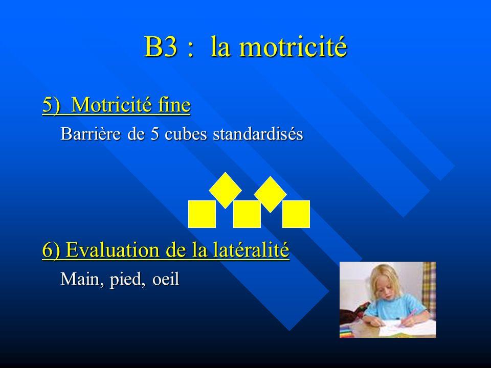 B3 : la motricité 5) Motricité fine 6) Evaluation de la latéralité