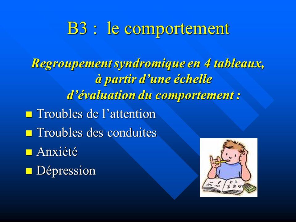 B3 : le comportement Regroupement syndromique en 4 tableaux, à partir d'une échelle d'évaluation du comportement :