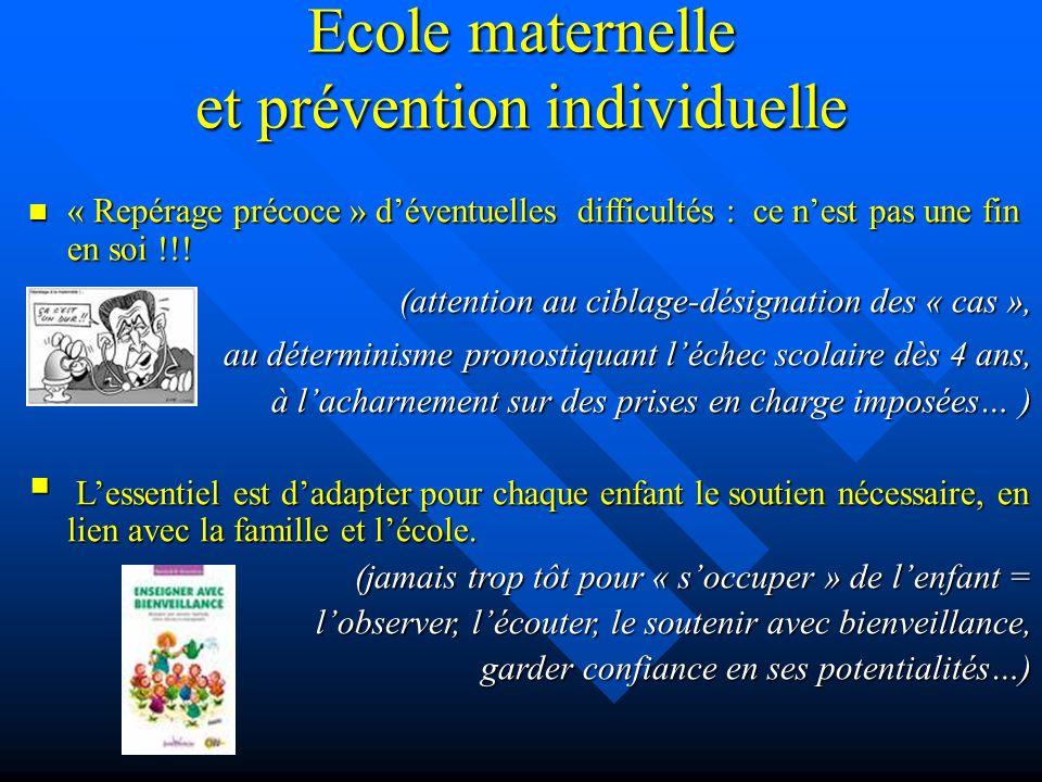 Ecole maternelle et prévention individuelle