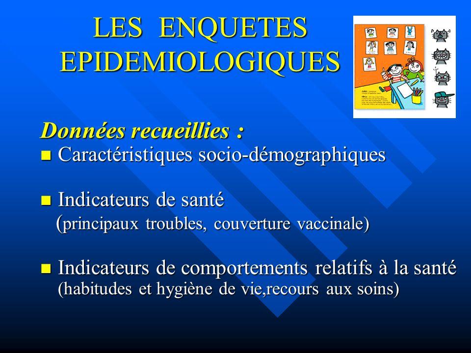 LES ENQUETES EPIDEMIOLOGIQUES