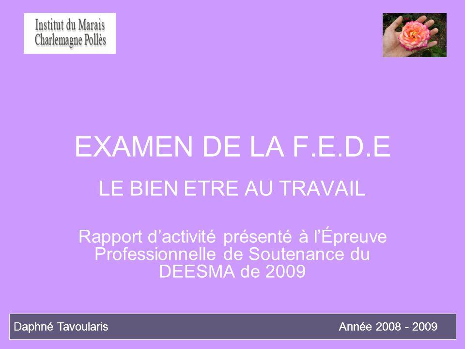 EXAMEN DE LA F.E.D.E LE BIEN ETRE AU TRAVAIL