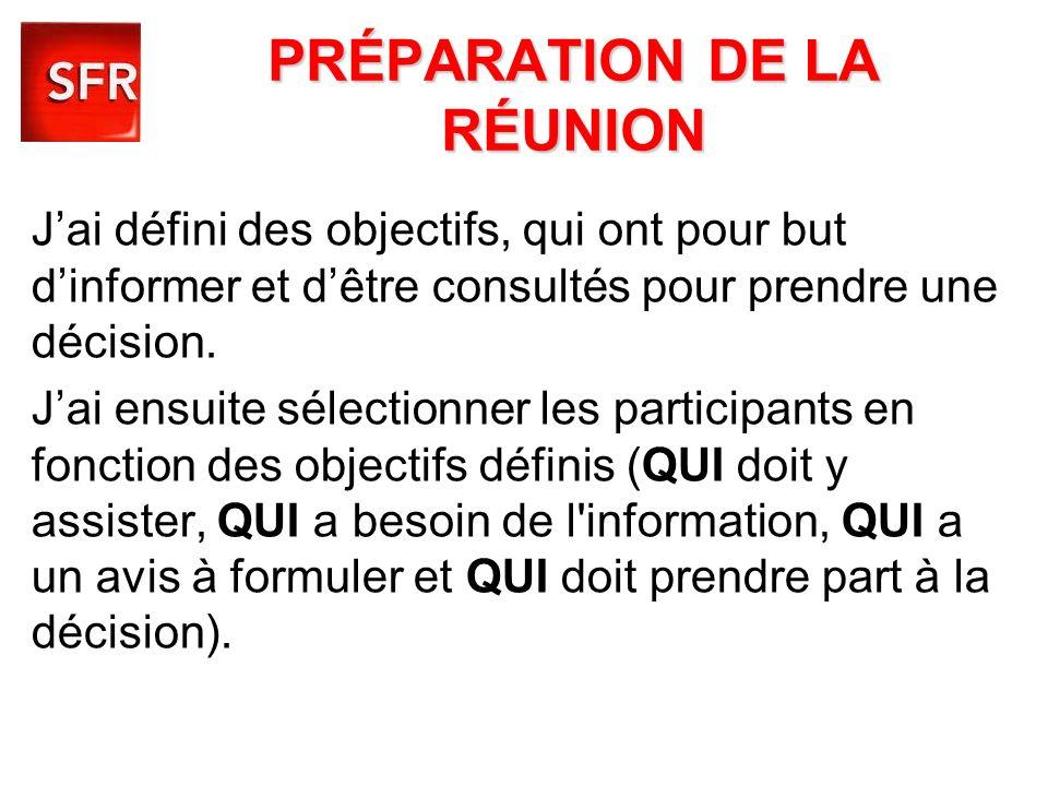 PRÉPARATION DE LA RÉUNION