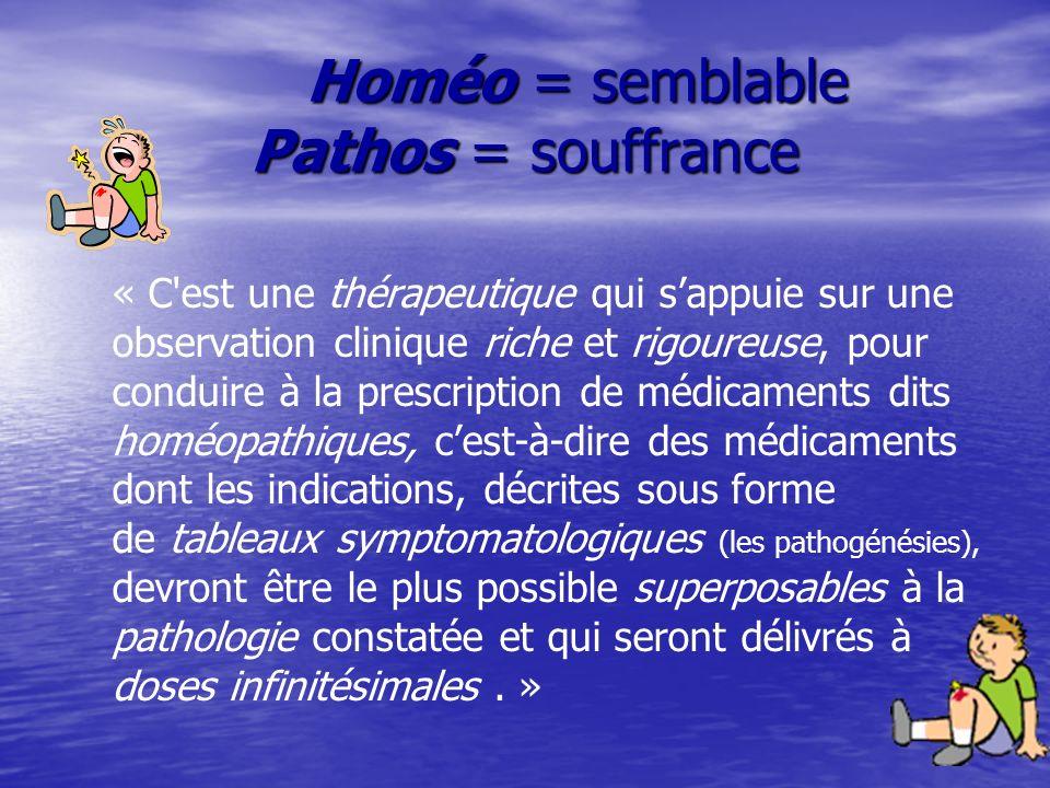 Homéo = semblable Pathos = souffrance