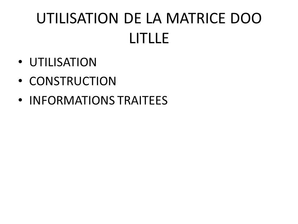 UTILISATION DE LA MATRICE DOO LITLLE