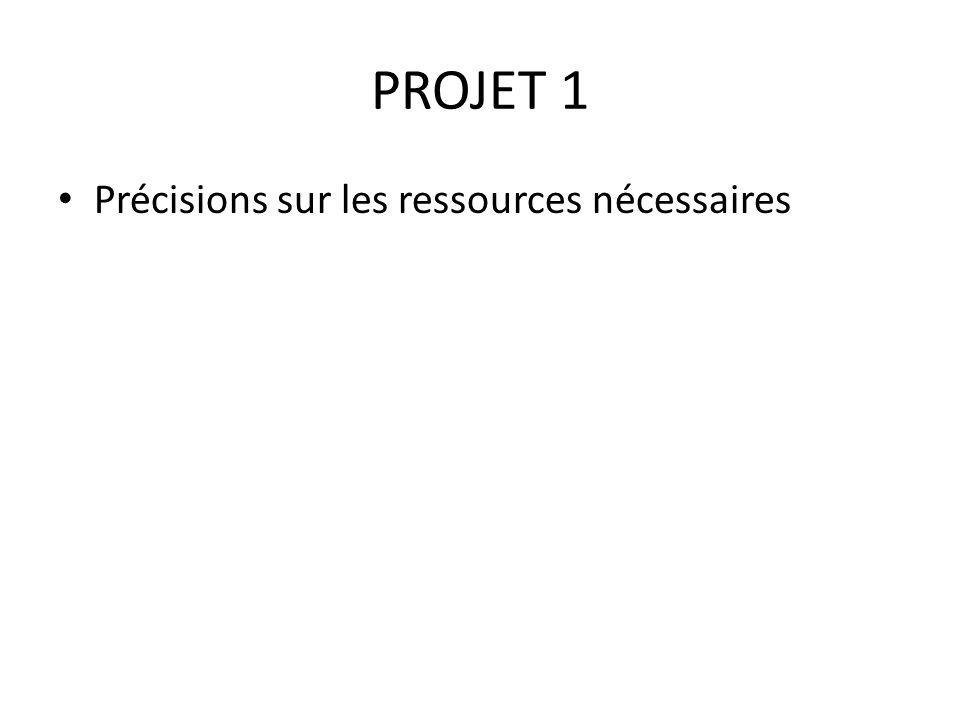 PROJET 1 Précisions sur les ressources nécessaires