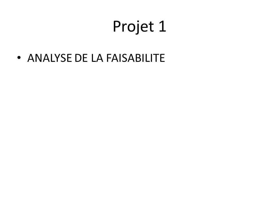 Projet 1 ANALYSE DE LA FAISABILITE