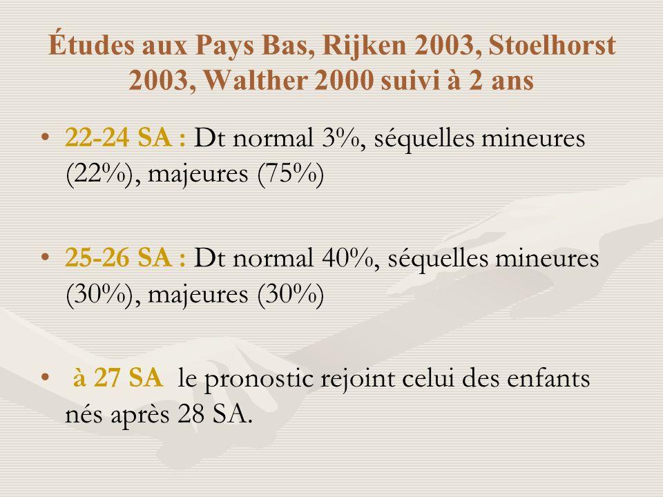 Études aux Pays Bas, Rijken 2003, Stoelhorst 2003, Walther 2000 suivi à 2 ans