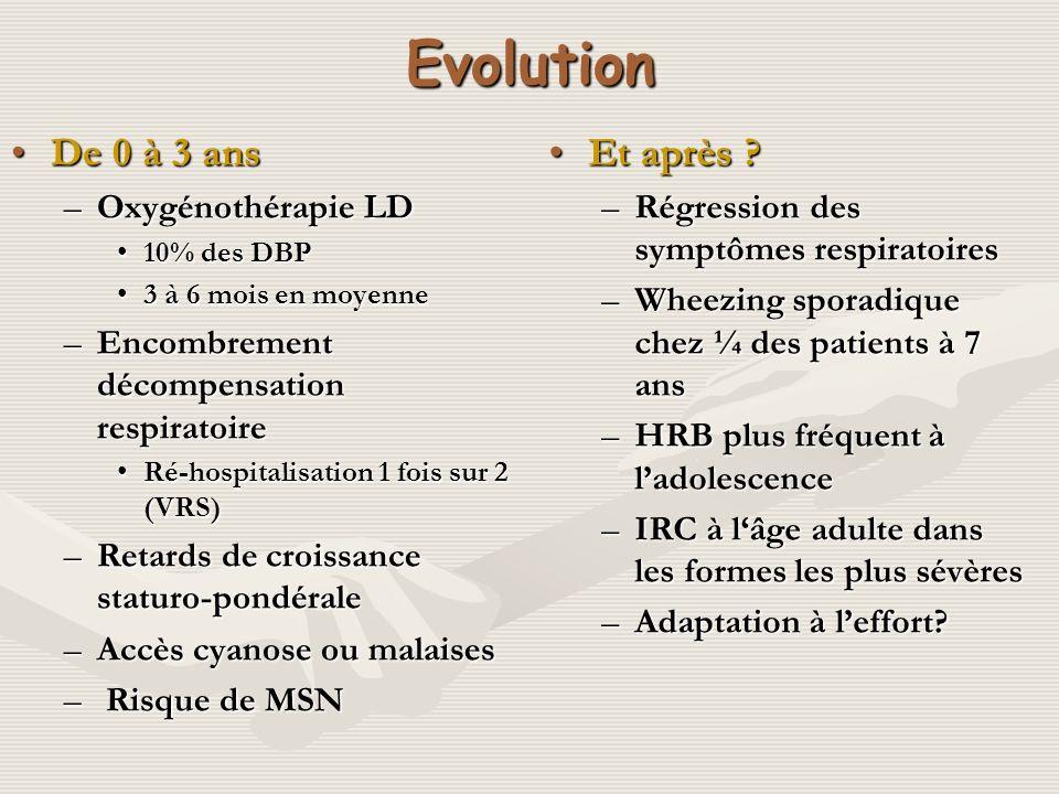 Evolution De 0 à 3 ans Et après Oxygénothérapie LD