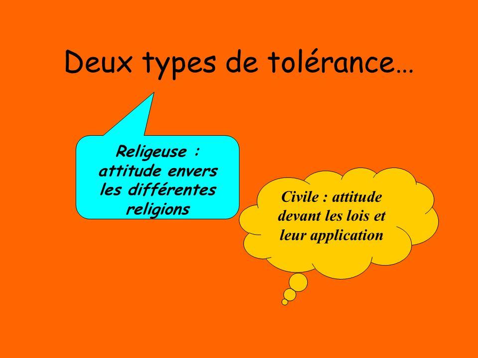 Deux types de tolérance…