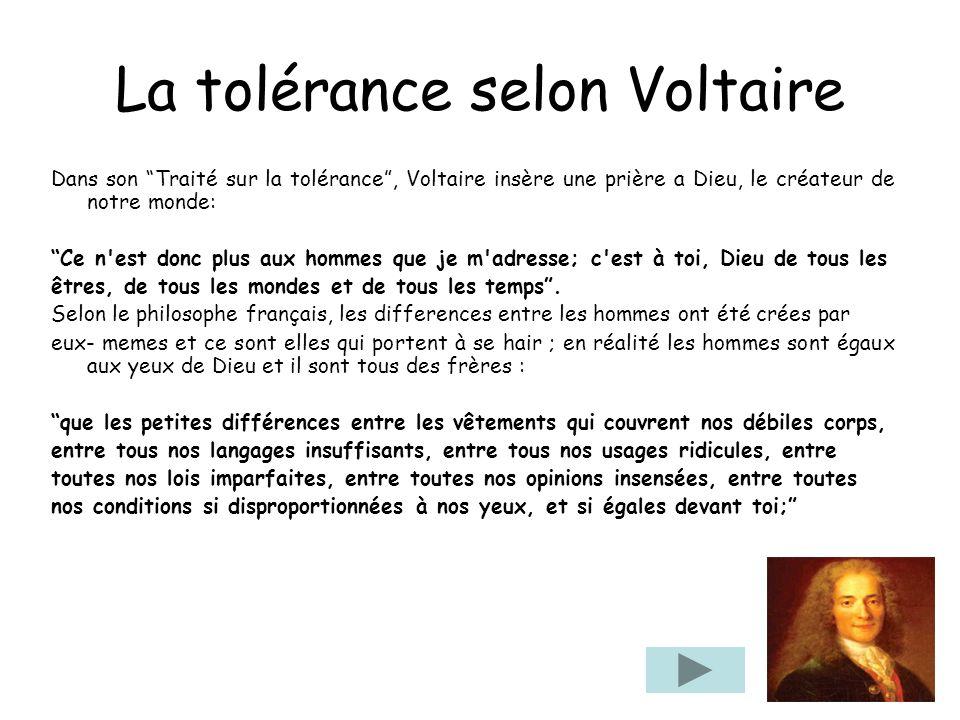 La tolérance selon Voltaire