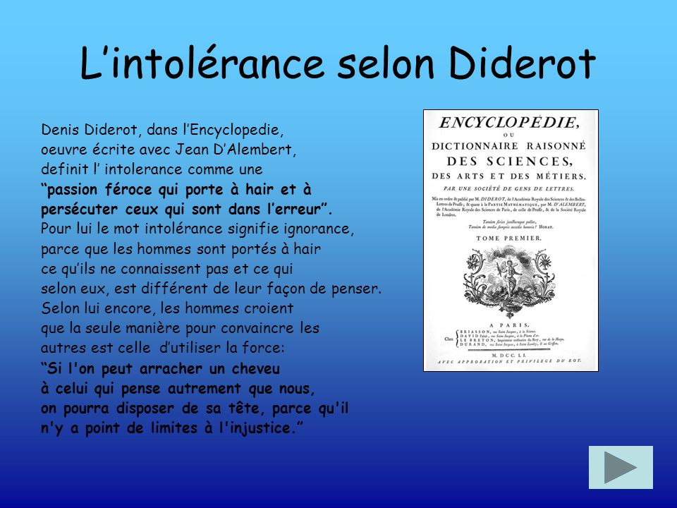 L'intolérance selon Diderot