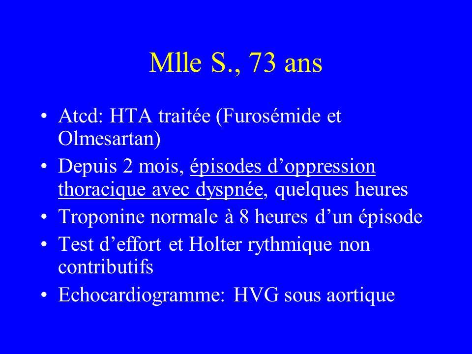 Mlle S., 73 ans Atcd: HTA traitée (Furosémide et Olmesartan)