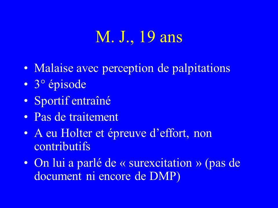 M. J., 19 ans Malaise avec perception de palpitations 3° épisode