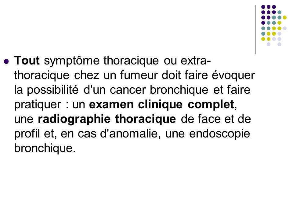 Tout symptôme thoracique ou extra-thoracique chez un fumeur doit faire évoquer la possibilité d un cancer bronchique et faire pratiquer : un examen clinique complet, une radiographie thoracique de face et de profil et, en cas d anomalie, une endoscopie bronchique.