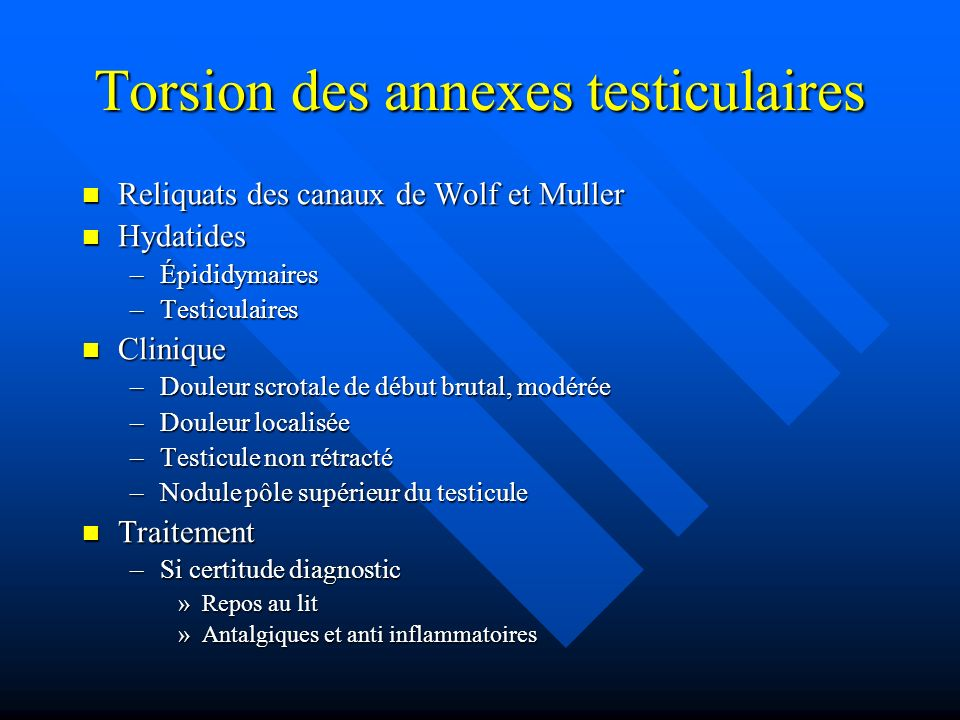 Torsion des annexes testiculaires