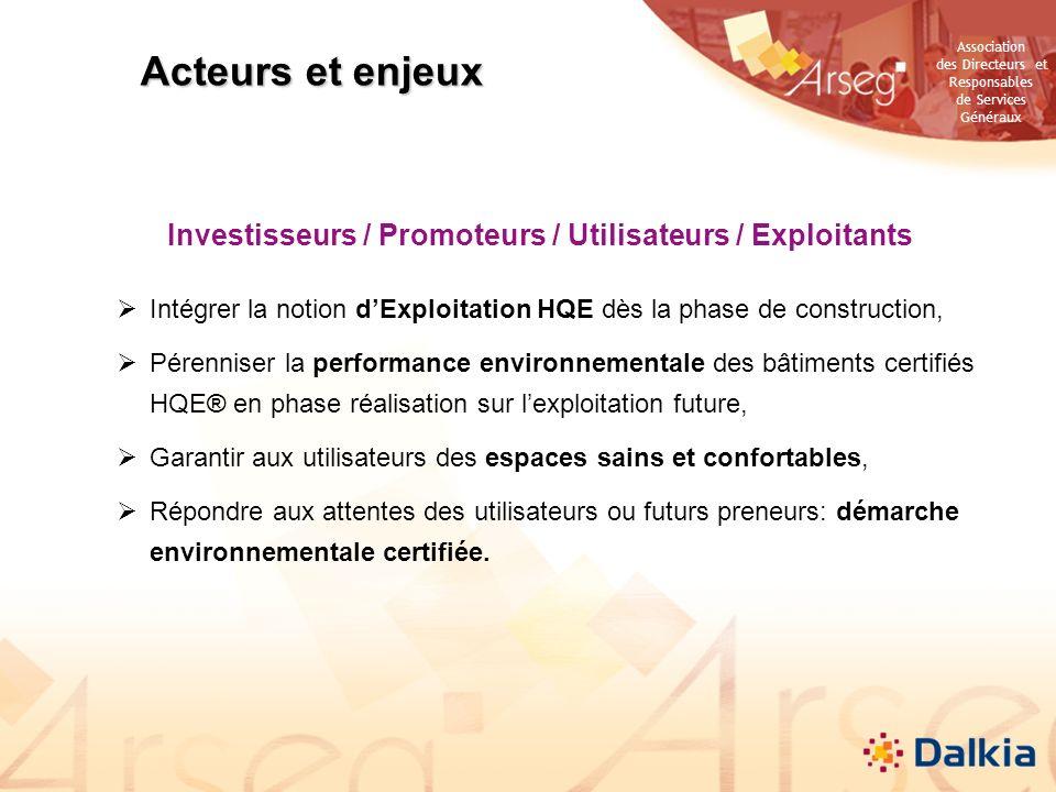 Investisseurs / Promoteurs / Utilisateurs / Exploitants