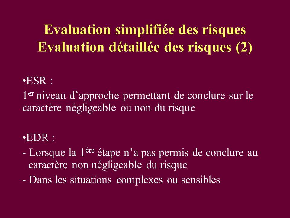 Evaluation simplifiée des risques Evaluation détaillée des risques (2)