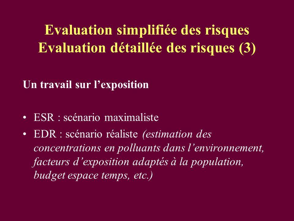 Evaluation simplifiée des risques Evaluation détaillée des risques (3)