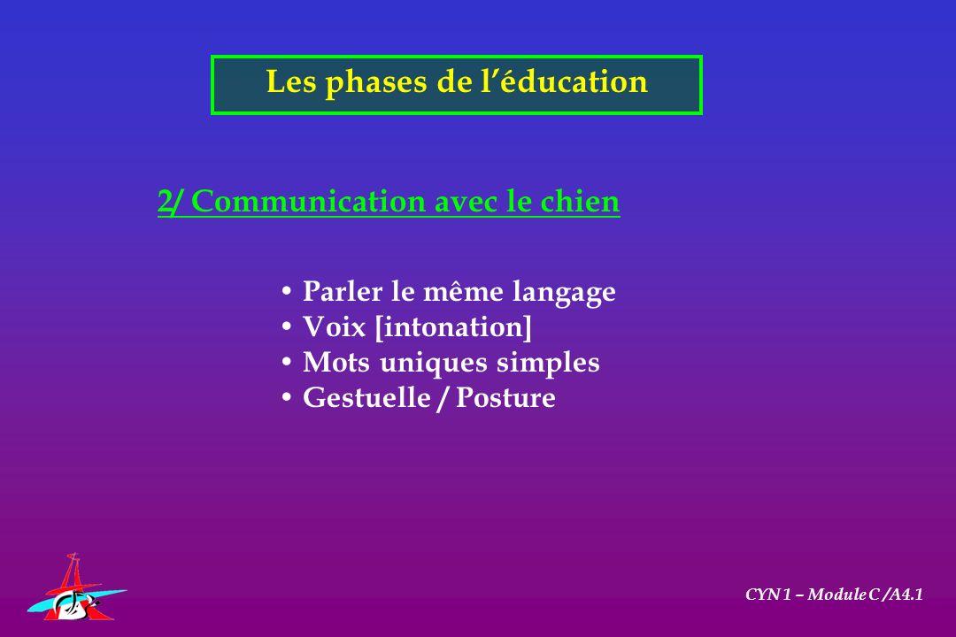Les phases de l'éducation