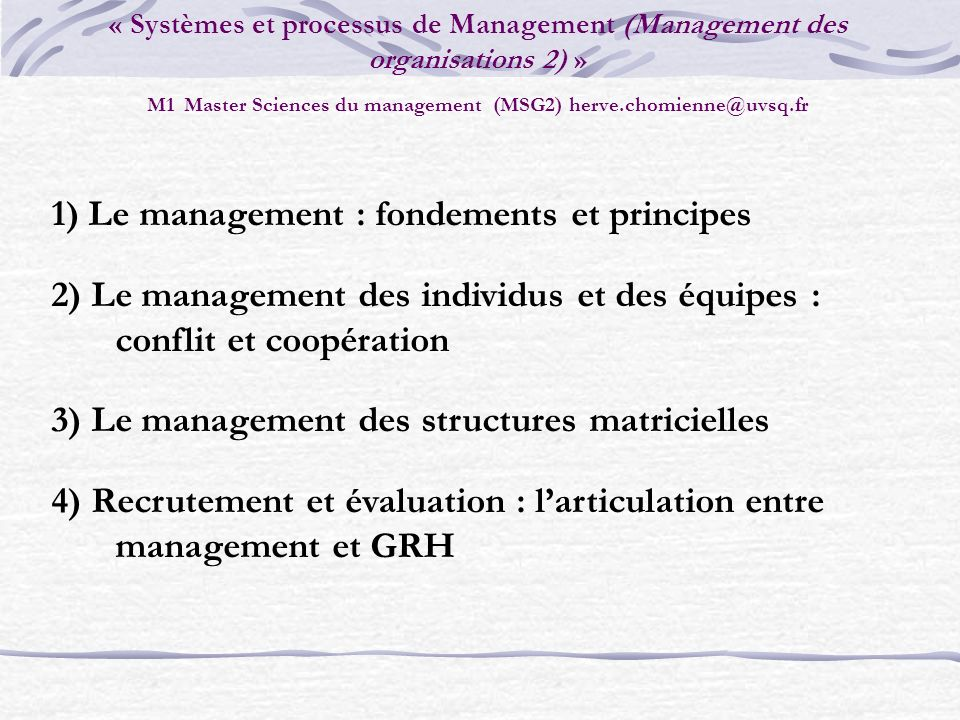 1) Le management : fondements et principes