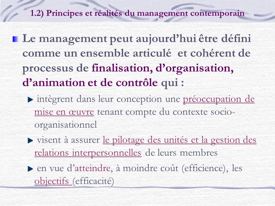 1.2) Principes et réalités du management contemporain