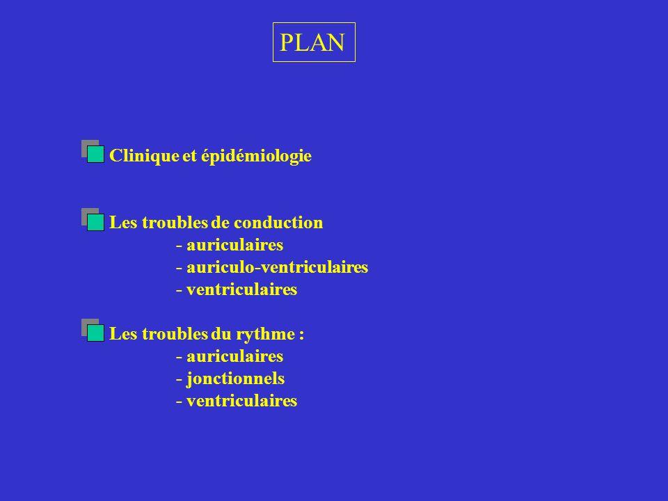 PLAN Clinique et épidémiologie Les troubles de conduction