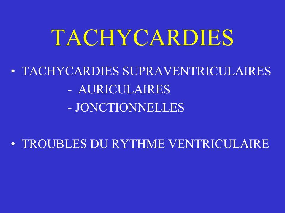 TACHYCARDIES TACHYCARDIES SUPRAVENTRICULAIRES - AURICULAIRES