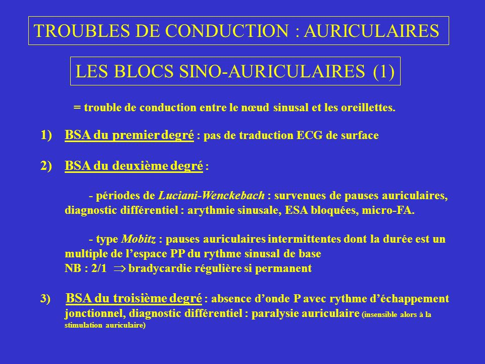 TROUBLES DE CONDUCTION : AURICULAIRES
