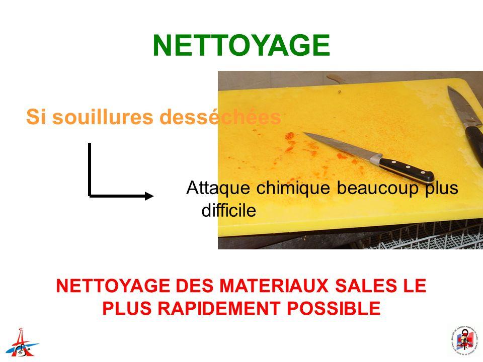 NETTOYAGE DES MATERIAUX SALES LE PLUS RAPIDEMENT POSSIBLE