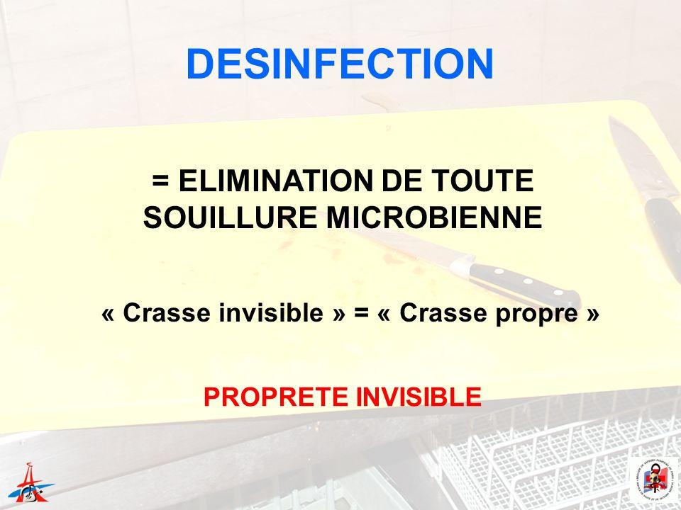 = ELIMINATION DE TOUTE SOUILLURE MICROBIENNE