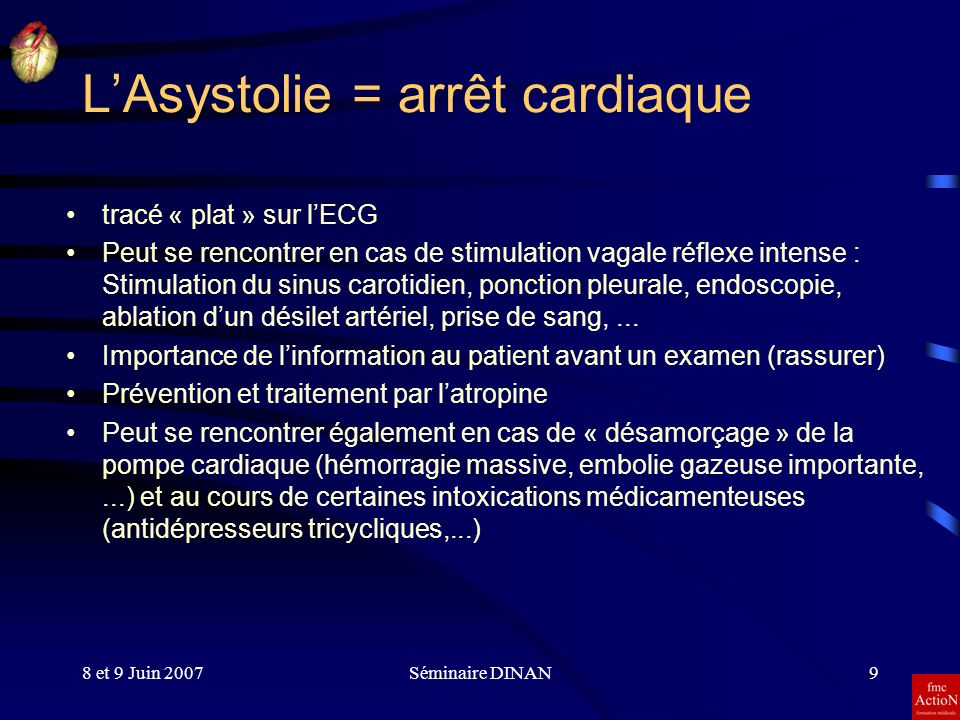 L'Asystolie = arrêt cardiaque