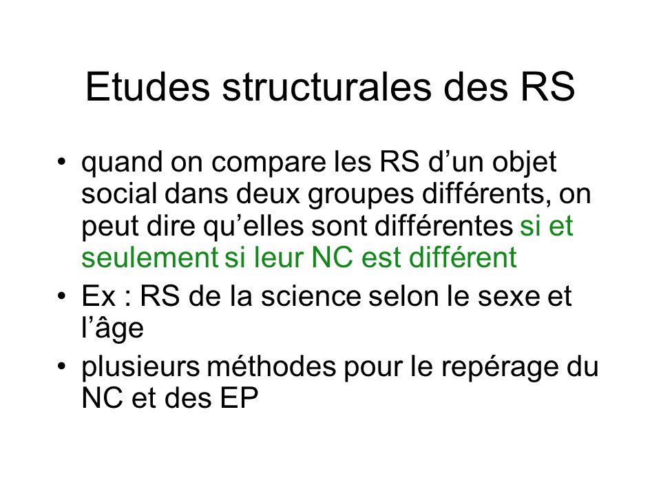 Etudes structurales des RS
