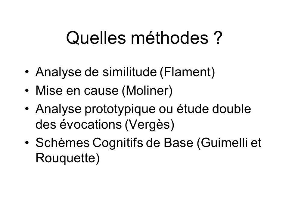 Quelles méthodes Analyse de similitude (Flament)