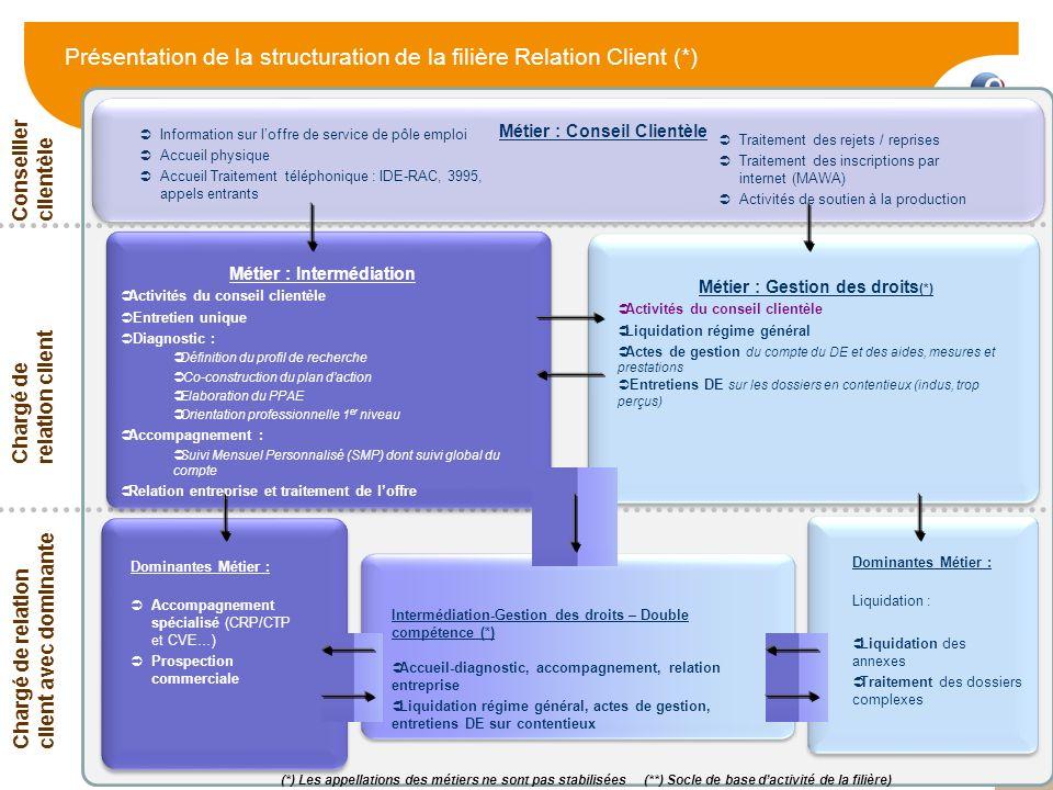 Présentation de la structuration de la filière Relation Client (*)