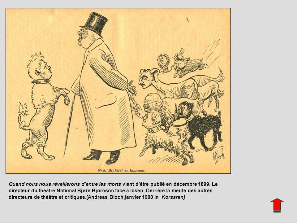 Naar Stykket er kommet. Artist : Andreas Bloch Date of publication : 4 January 1900 Comment : Caricature by Andreas Bloch in Korsaren. Ibsen´s last drama, When We Dead Awaken, was published on 22 December 1899. Nationaltheatret´s director Bjørn Bjørnson to the left fawning upon Ibsen. Behind other theatre directors and critics.