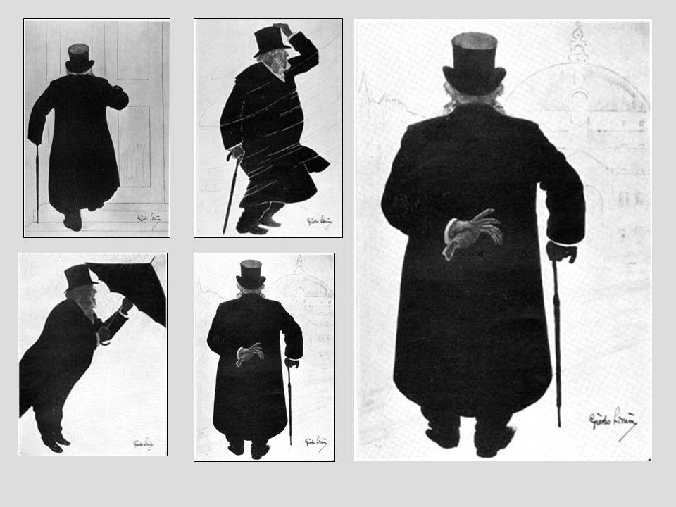 Fra Gustav Lærums serie med tusjtegninger av Ibsen på spasertur fra Arbiensgate til Grand Café
