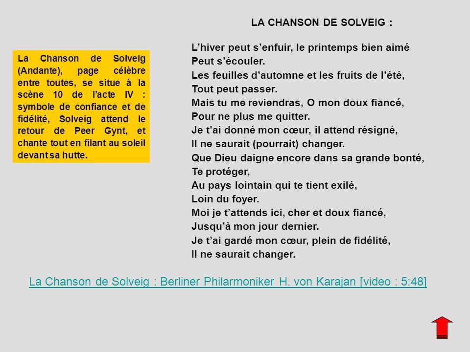 LA CHANSON DE SOLVEIG :