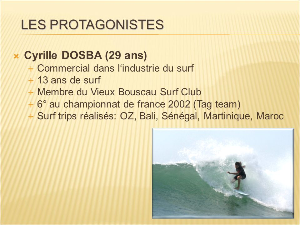 LES PROTAGONISTES Cyrille DOSBA (29 ans)