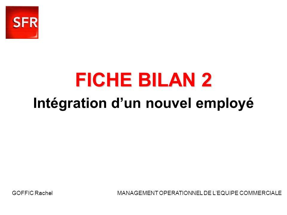 FICHE BILAN 2 Intégration d'un nouvel employé