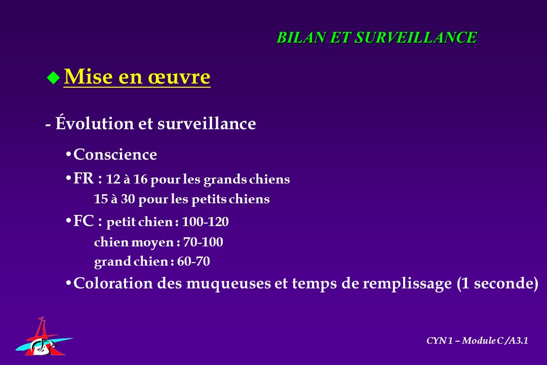 Mise en œuvre BILAN ET SURVEILLANCE - Évolution et surveillance