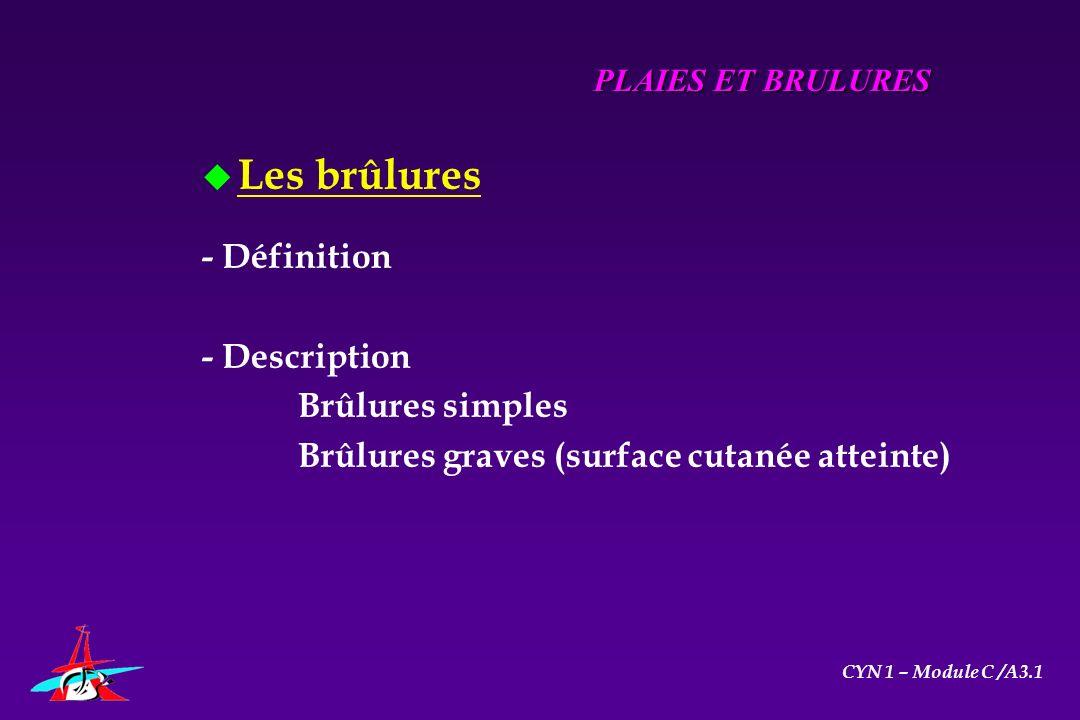 Les brûlures - Définition - Description Brûlures simples