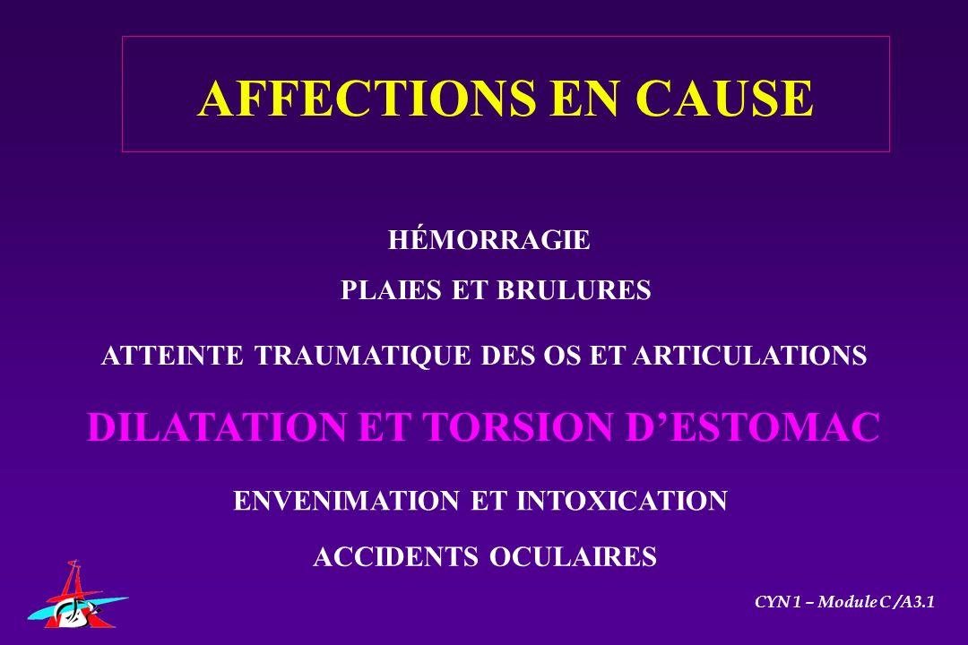 AFFECTIONS EN CAUSE DILATATION ET TORSION D'ESTOMAC HÉMORRAGIE