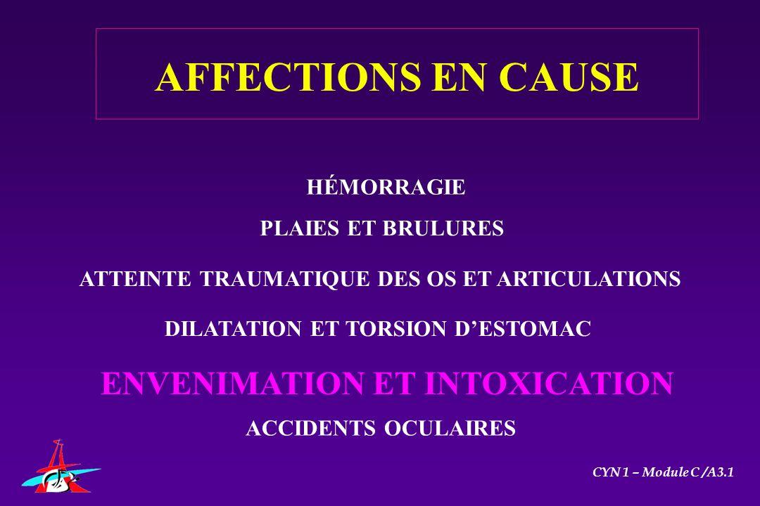 AFFECTIONS EN CAUSE ENVENIMATION ET INTOXICATION HÉMORRAGIE HÉMORRAGIE