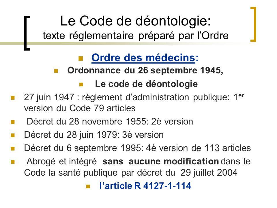 Le Code de déontologie: texte réglementaire préparé par l'Ordre