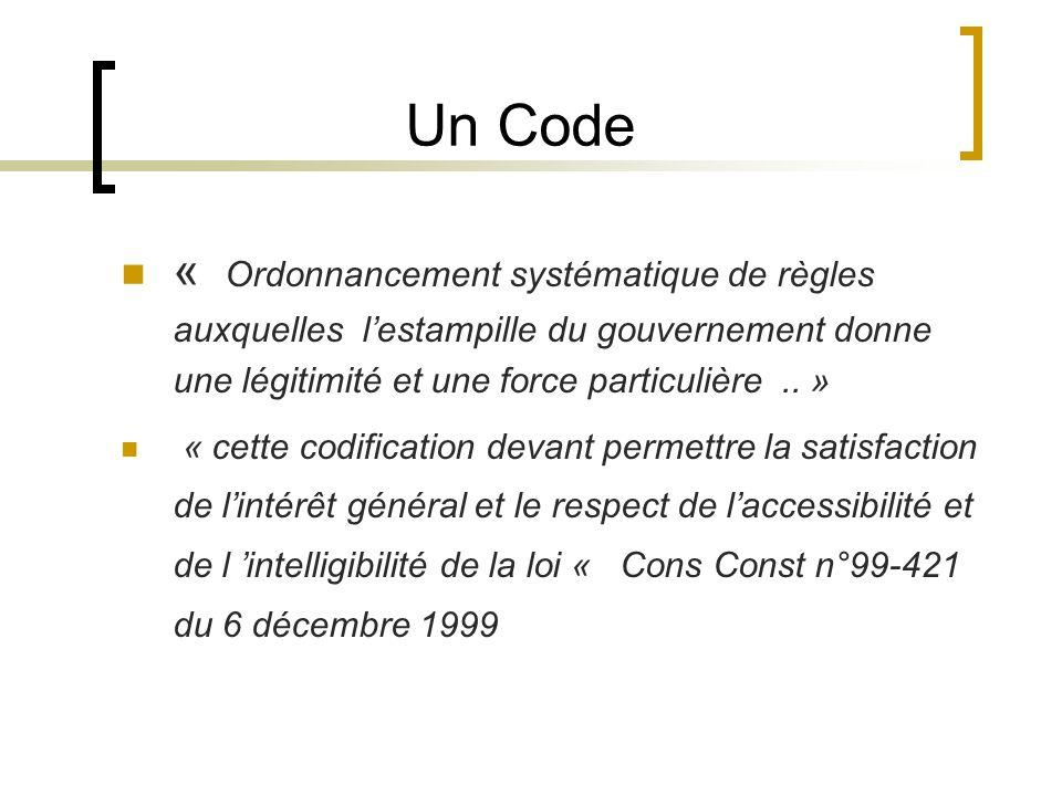Un Code « Ordonnancement systématique de règles auxquelles l'estampille du gouvernement donne une légitimité et une force particulière .. »