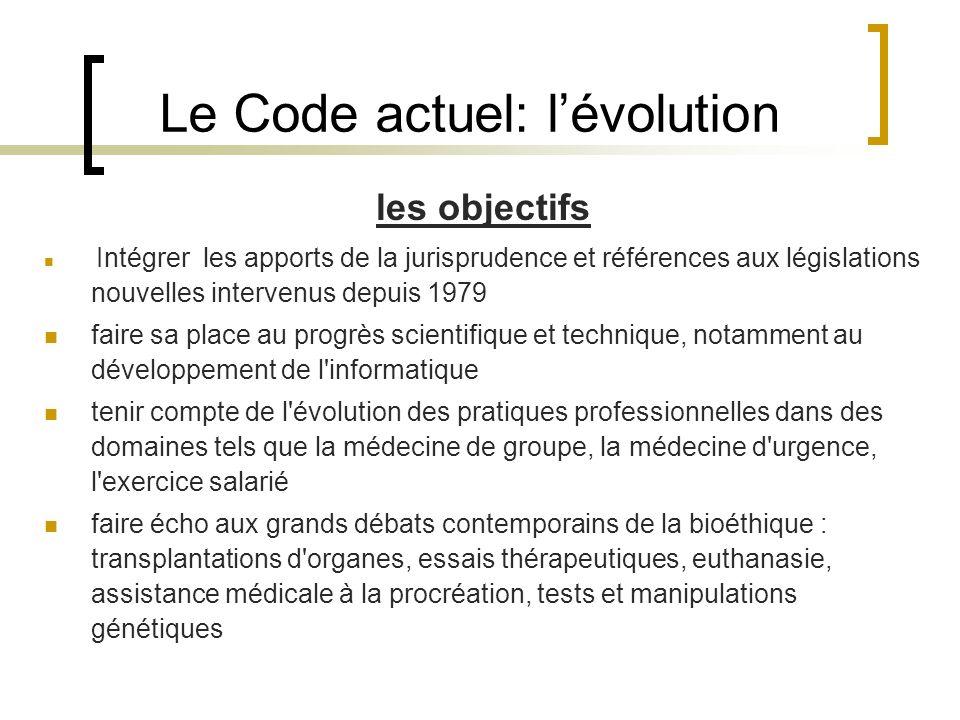 Le Code actuel: l'évolution