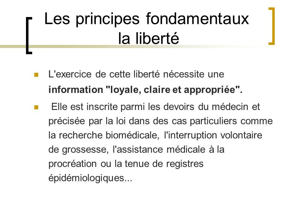 Les principes fondamentaux la liberté