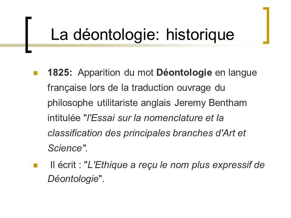 La déontologie: historique