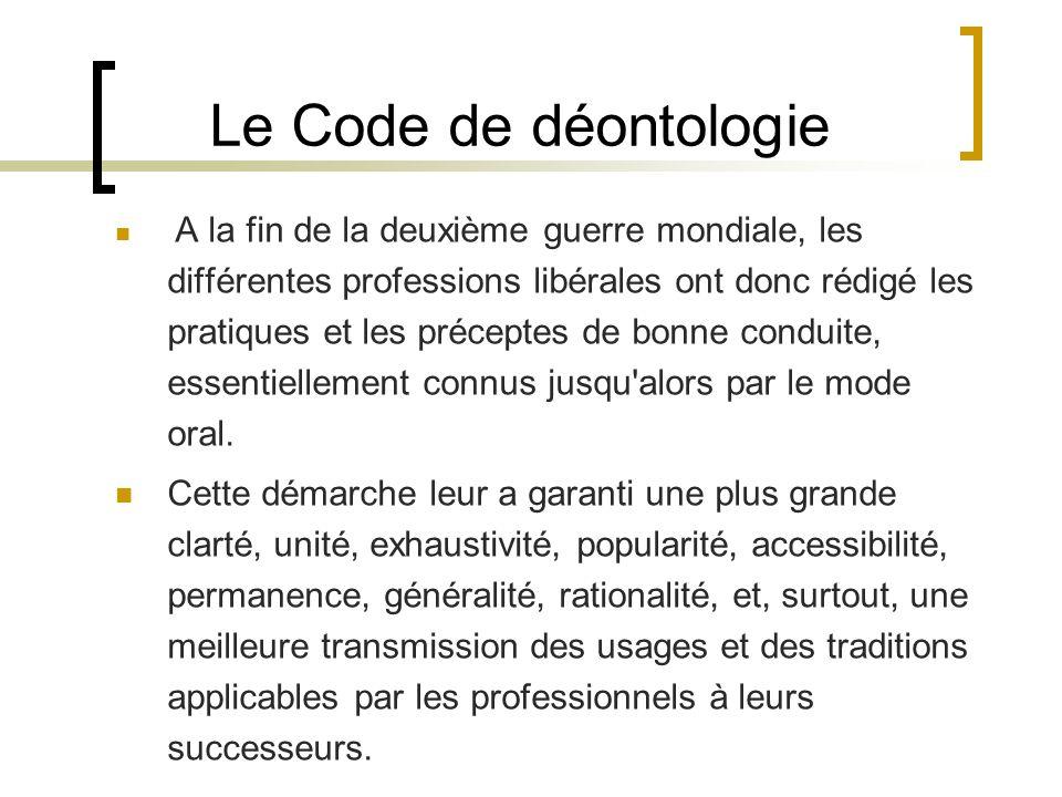 Le Code de déontologie
